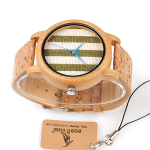 Image 2 - BOBO BIRD WA29 Wooden Watch Blue Indexes White Green Clothes Constitute Dial Nice Women Bamboo Watches