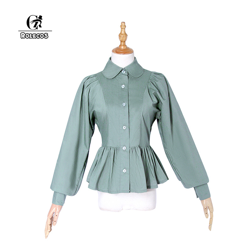 ROLECOS Women Lolita Blouse Cotton Vintage Victorian Blouse Gothic Style Ruffle Sweet Shirt Retro Costume Color Green White