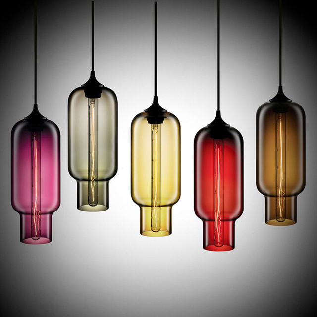 7 color Industrial Colourful glass ball led Pendant Lamps modern e27  lights cord for kitchen restaurant living room cafe bar