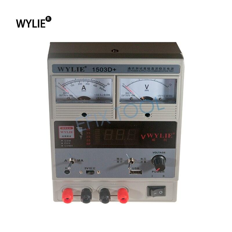 цена на WYLIE 1503D+ 220V 15V 3A Digital LED Display DC Power Supply Mobile Phone Repair Test Regulated Power Supply