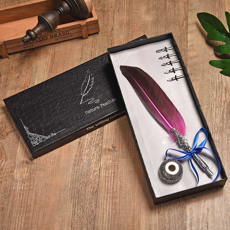 BNB European Creative Retro Turkey Feather Pen Flower Head Round Bottom Pen 10 Color With Ink Paint Pen Set Fountain Pen bnb europe and the united states creative craft feather pen ink set feather pen gift box new metal pen can be customized