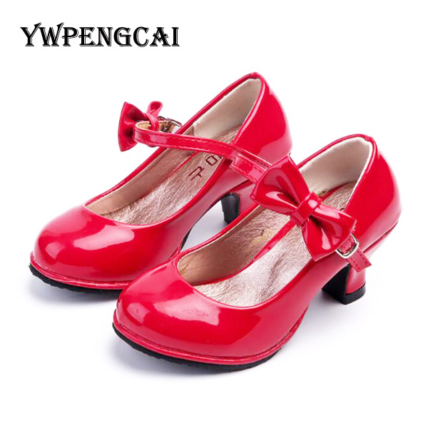 Shoes Pink Black Girls Princess Children Patent Red Bling Shiny Solid-Colors
