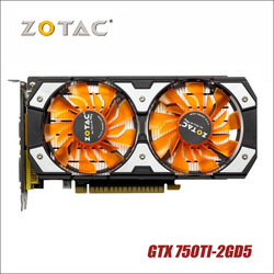 بطاقة فيديو أصلية مستخدمة من ZOTAC بطاقة رسومات GTX 750Ti-2GD5 GDDR5 لشاشات nVIDIA GeForce GTX750 Ti 2GB GTX 750 TI 2G 1050ti Hdmi