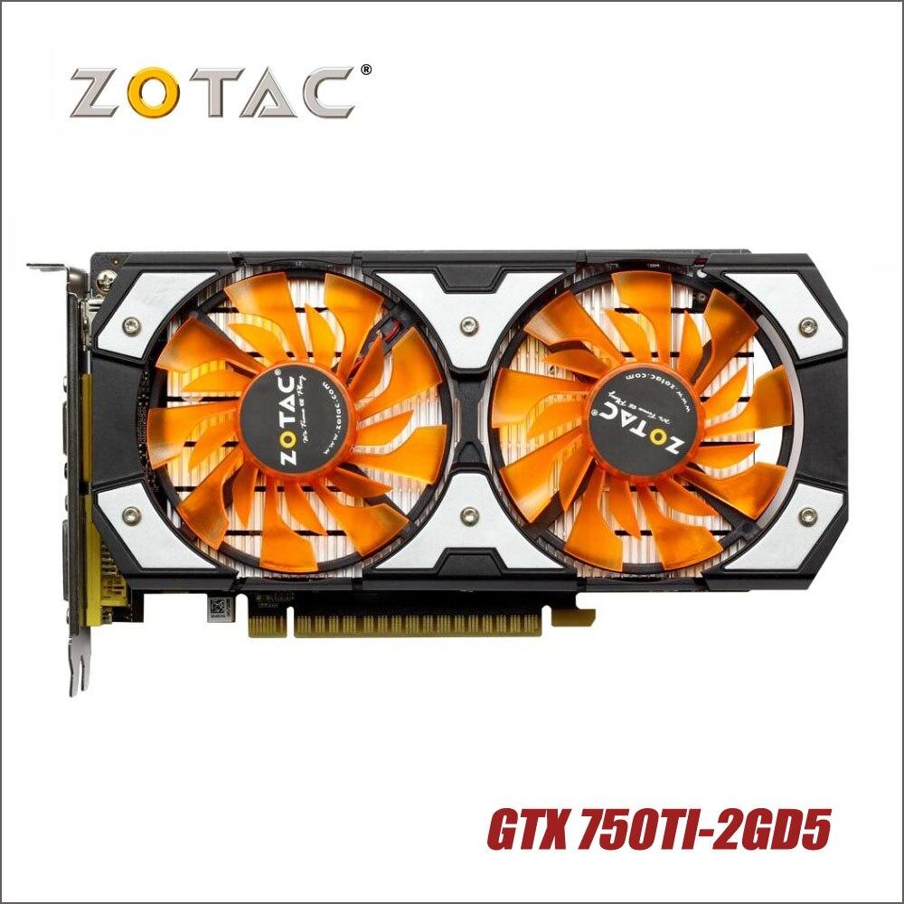 Gebruikt originele ZOTAC Videokaart GTX 750Ti-2GD5 GDDR5 Grafische Kaarten Voor nVIDIA GeForce GTX750 Ti 2 gb GTX 750 TI 2g 1050ti Hdmi