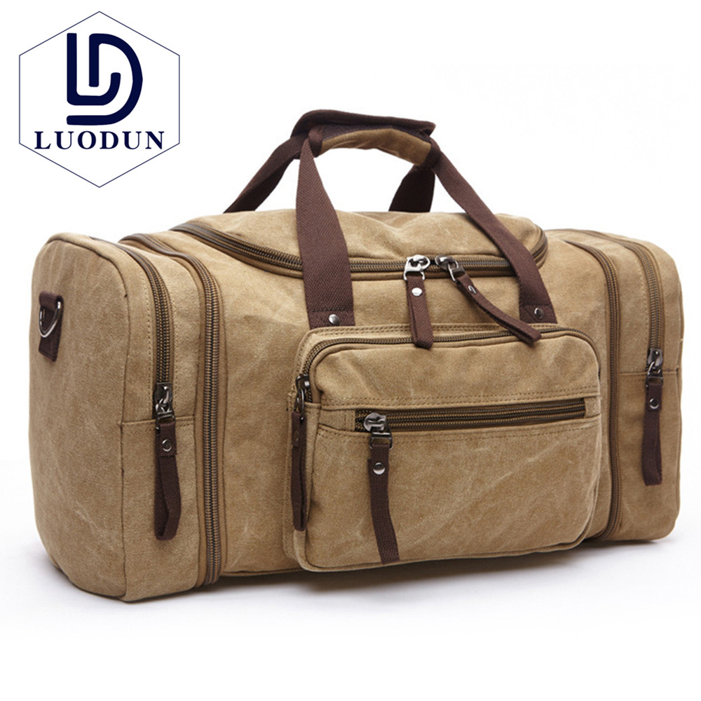 LUODUN Brand Canvas Men Travel Bags Carry on Luggage Bags Men Duffel Bag Tote Large Weekend Bag Overnight high Capacity backpack markroyal canvas men travel bags carry on luggage bags men duffel bag travel tote large weekend bag overnight high capacity