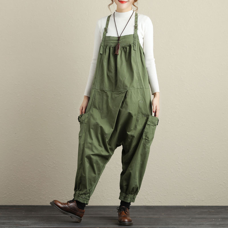 505eb54df280 Army Green Bib Pants Harem Jumpsuit Plus Size Wide Leg Baggy Low Drop Crotch  Ankle Overalls for women G111604-in Jumpsuits from Women s Clothing on ...