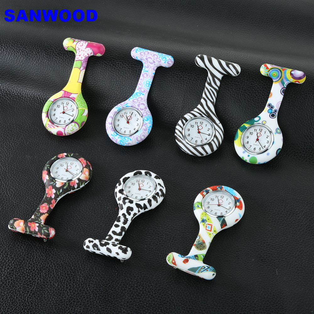 Arabic Numerals Round Dial Silicone Nurses Brooch Tunic Fob Pocket Watch With Clip