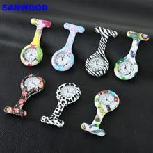Купить с кэшбэком Arabic Numerals Round Dial Silicone Nurses Brooch Tunic Fob Pocket Watch