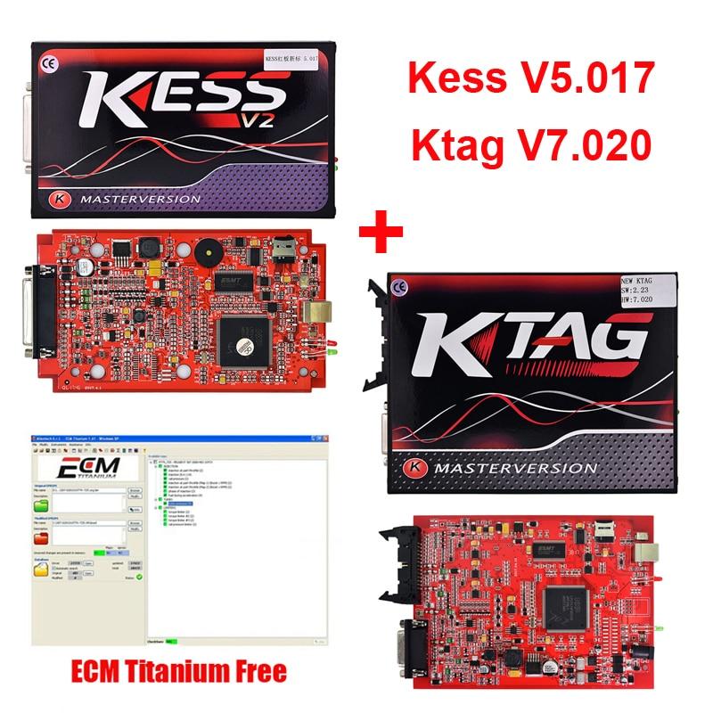 2018 новые KESS V2.23 V5.017 + KTAG V2.23 V7.020 мастер версия автомобиля ЭБУ Чип Tunning инструментов с Бесплатная ECM Titanium v1.61