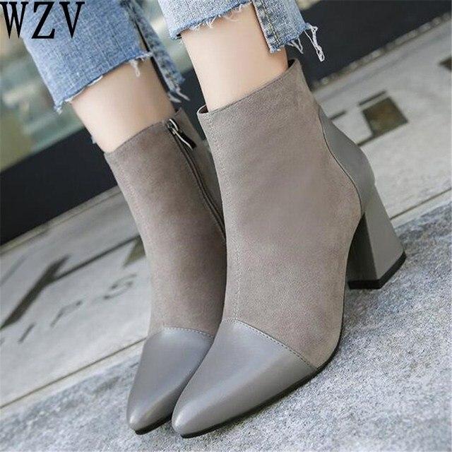 b30d02601 NOVOS 2018 Mulheres Dedo Apontado Botas de moda Costura Ankle Boots Botas  de Inverno com zíper