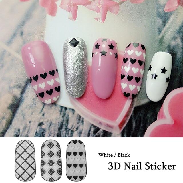 1pcs white black nail art stickers 3d heart cute stripe patterns 1pcs white black nail art stickers 3d heart cute stripe patterns stencil guider tips beauty manicure prinsesfo Gallery