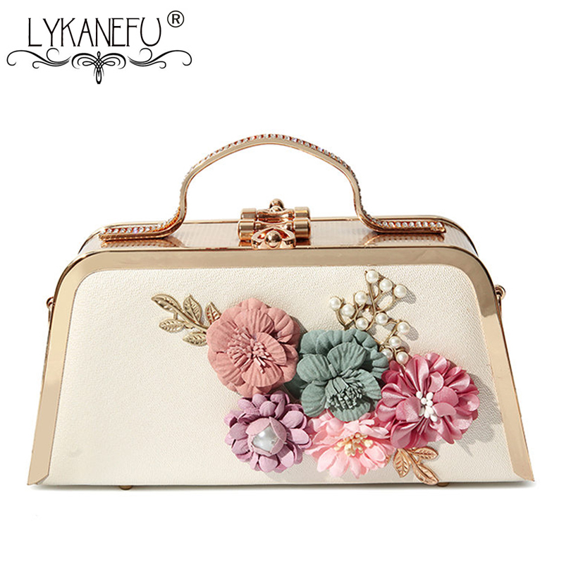 цена на LYKANEFU Tote Women Evening Bags Floral Metal Frame Chain Day Clutches Small Chain Shoulder Hand Bags For Party Wedding Purse