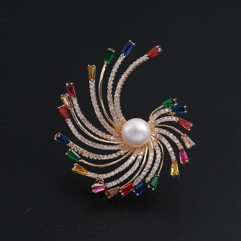 XIHA Pave CZ Zircon broches et broches Rose or couleur cristal coloré fleur broche pour les femmes mode coréenne perle bijoux