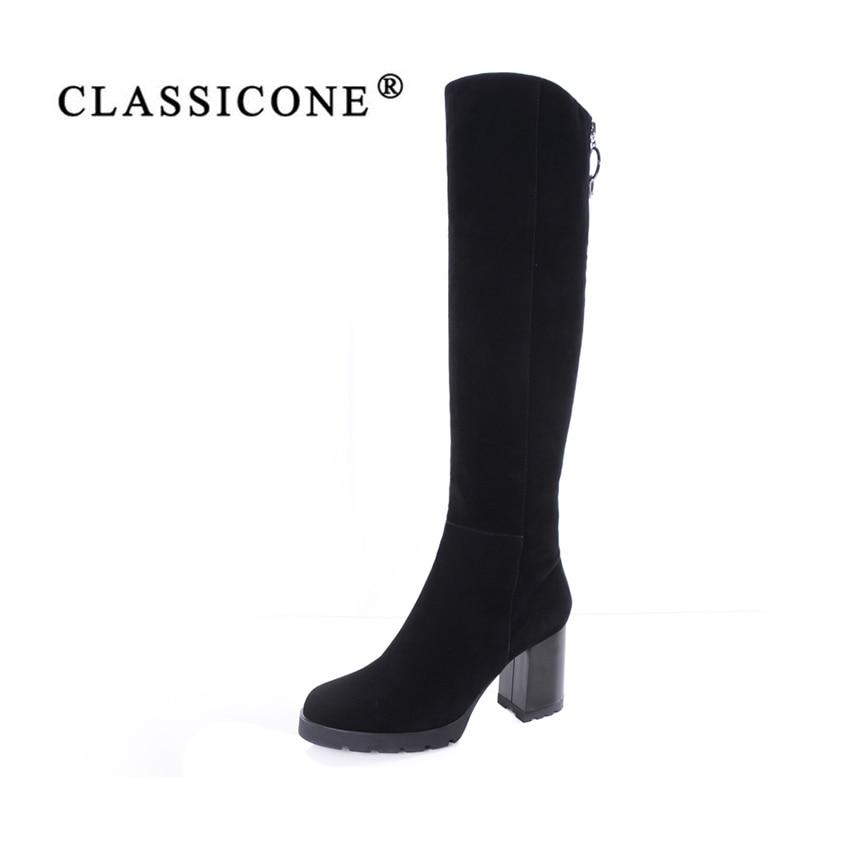CLASSICONE de las mujeres rodilla botas de gamuza de cuero genuino lana caliente tacones altos botas de piel de nieve mujeres marca de moda