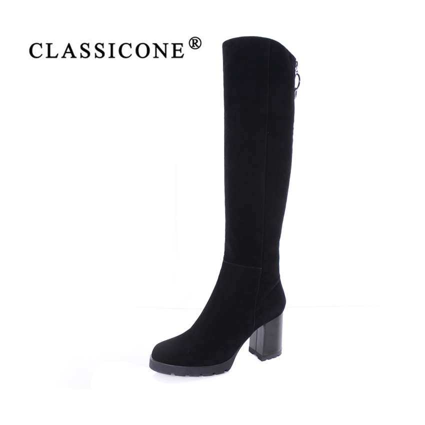 CLASSICONE women's shoes knee-high boots genuine leather suede warm wool high heels boots fur snow boots women brand fashion allbitefo full genuine leather mixed colors chains design fashion brand women knee high boots winter snow zip women boots