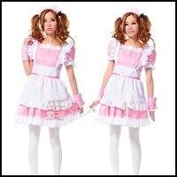 Anime Inu x Boku SS Shirakiin Ririchiyo and Roromiya Karuta Maid dress Cosplay Costume Lolita black and pink color for the Woman