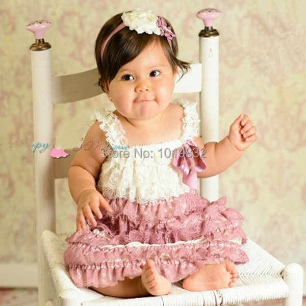 d7f6d140db4c Baby Girl Dress Ivory Dusty Rose Lace Petti Dresses For Kids Girls Summer  Dress Cheap Price