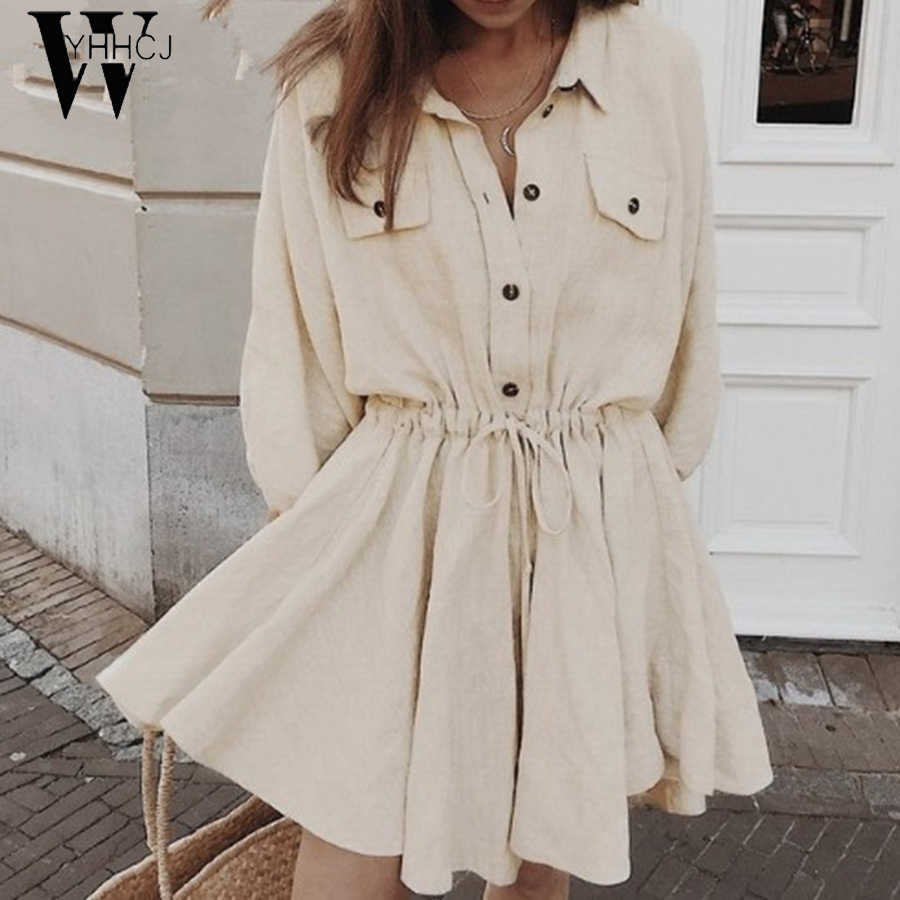WYHHCJ 2019 свободное летнее платье с воротником на пуговицах, с рукавами-фонариками, из хлопка и льна, Повседневное платье трапециевидной формы