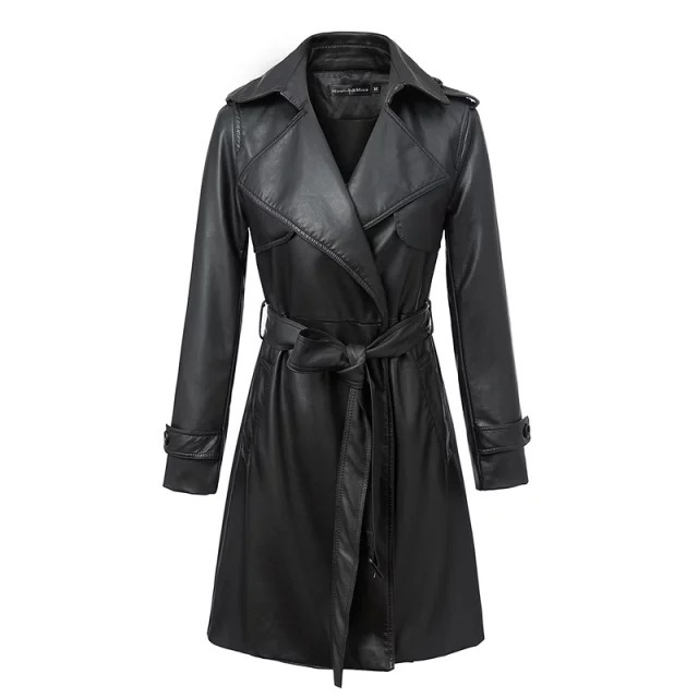 High Quality Ladies Leather Jacket New Winter 2016 Ms Long ...