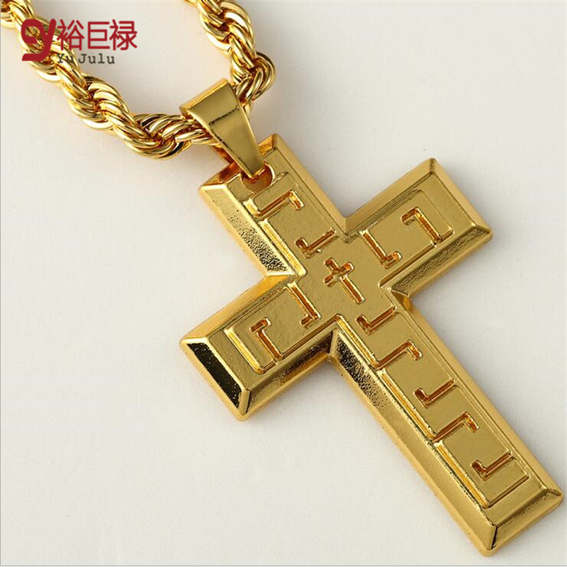 2016 hip hop thick gold chains for men gift 24k gold cross pendant 2016 hip hop thick gold chains for men gift 24k gold cross pendant men long chain statement necklace bling jewelry bijoux in pendants from jewelry aloadofball Gallery