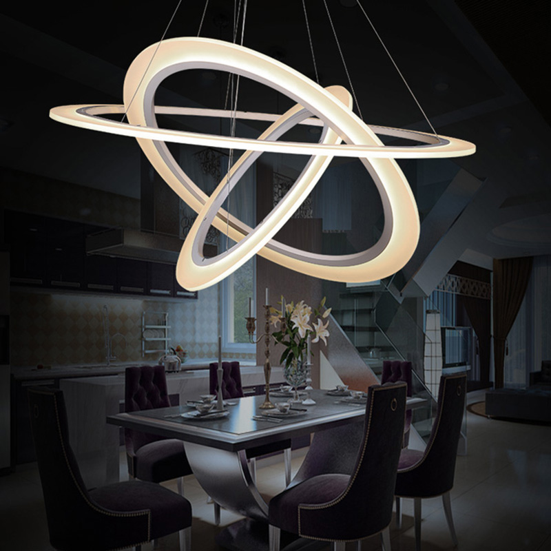 Modern led pendant light 3 rings circles hanging lights for Dining room 3 pendant lights