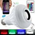 Портативный Беспроводной E27 Bluetooth Мини-Пульт Дистанционного Управления Smart LED Аудио Спикер RGB Цвет Света Теплый Лампы Музыка Лампы