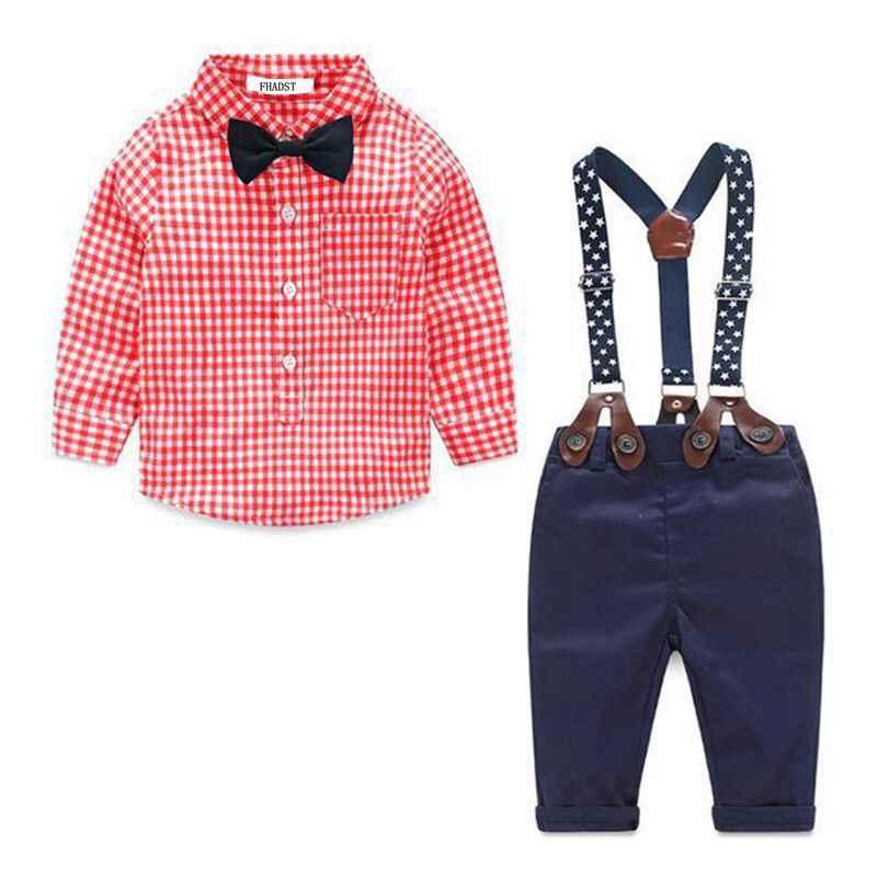 2019 модная детская одежда клетчатая рубашка + подтяжки для новорожденных, одежда с длинными рукавами для маленьких мальчиков костюм джентльмена с бантом воротник-стойка
