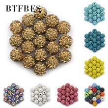 BTFBES 10mm 20pcs Micro Pave Beads Crystal Disco Ball Round Clay Loose beads Bracelet Necklace Jewelry Making DIY Accessory