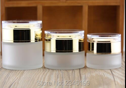 50G 50ML Frost Glass Jar with Acrylic Gold Cap, High-Grade Cosmetic Packing Container Frosted Glass Bottle, 12pcs/lot high quality black acrylic cream jar gold cap empty cosmetic bottle container jar lotion pump bottle 30g 50g 30ml 50ml 120ml