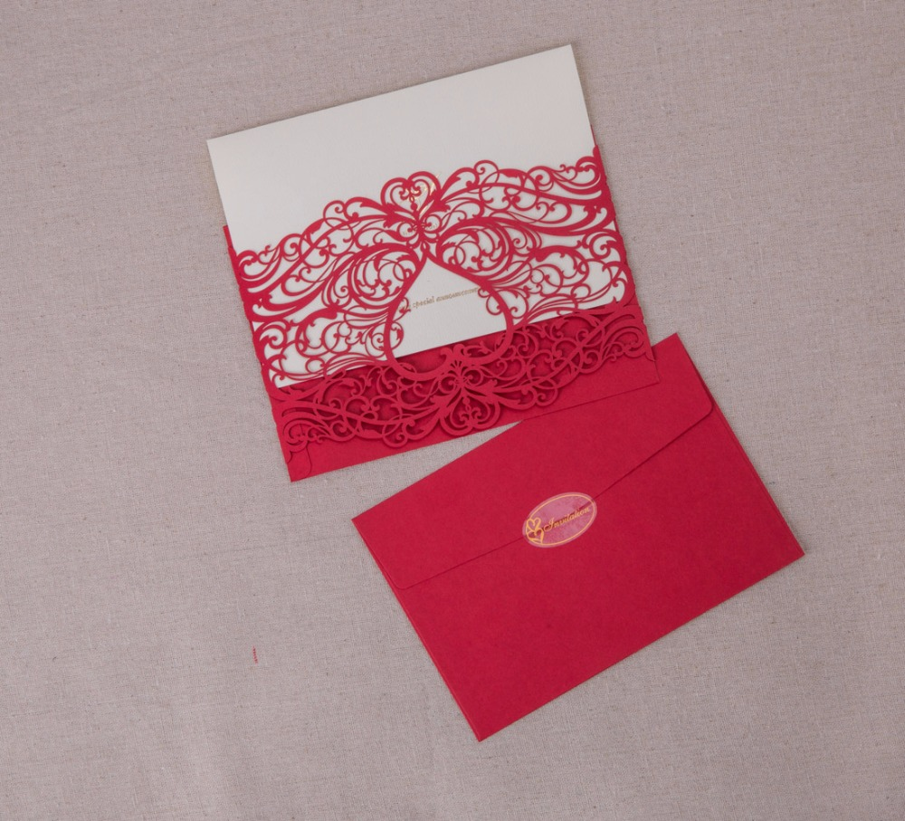 50PCS Laser Cut Heart Wedding Invitations Cards Gold Red For Party ...