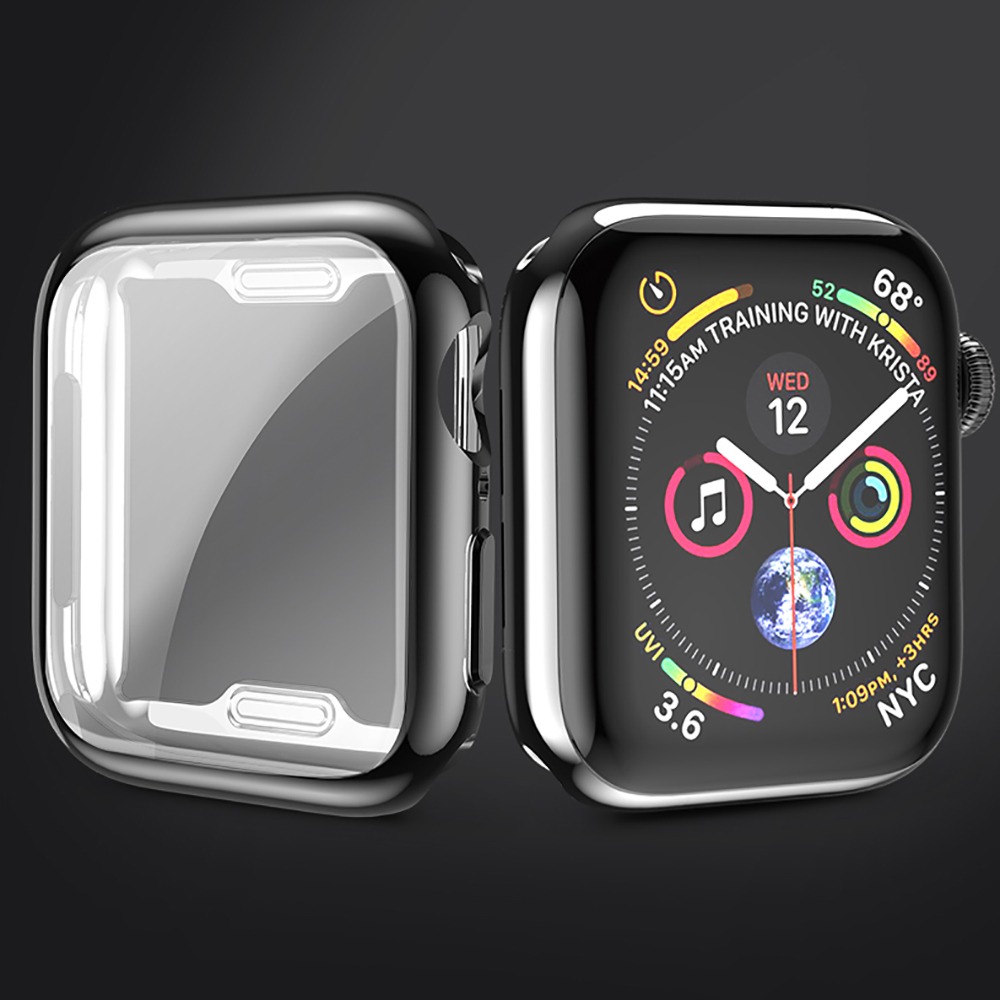 PORTEFEUILLE Hot Soft TPU protective for apple watch4 case 440MM 44MM and 360 all inclusive plating TPU cover mobile accessories