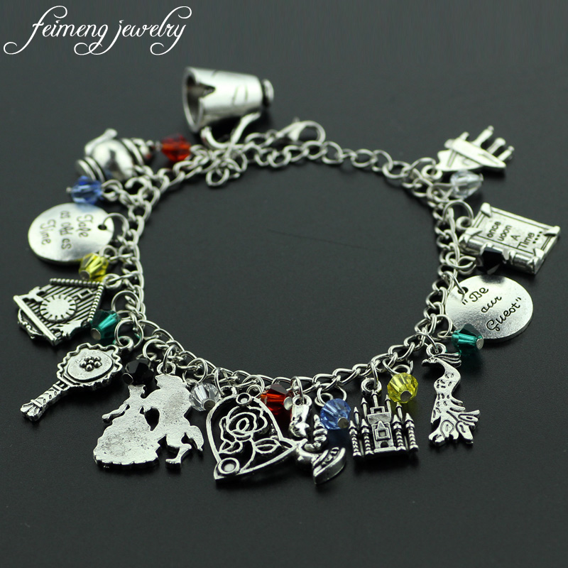 Feimeng Jewelry Beauty And The Beast Charm Bracelet Cup Kettle Beast Prince And Belle Princess
