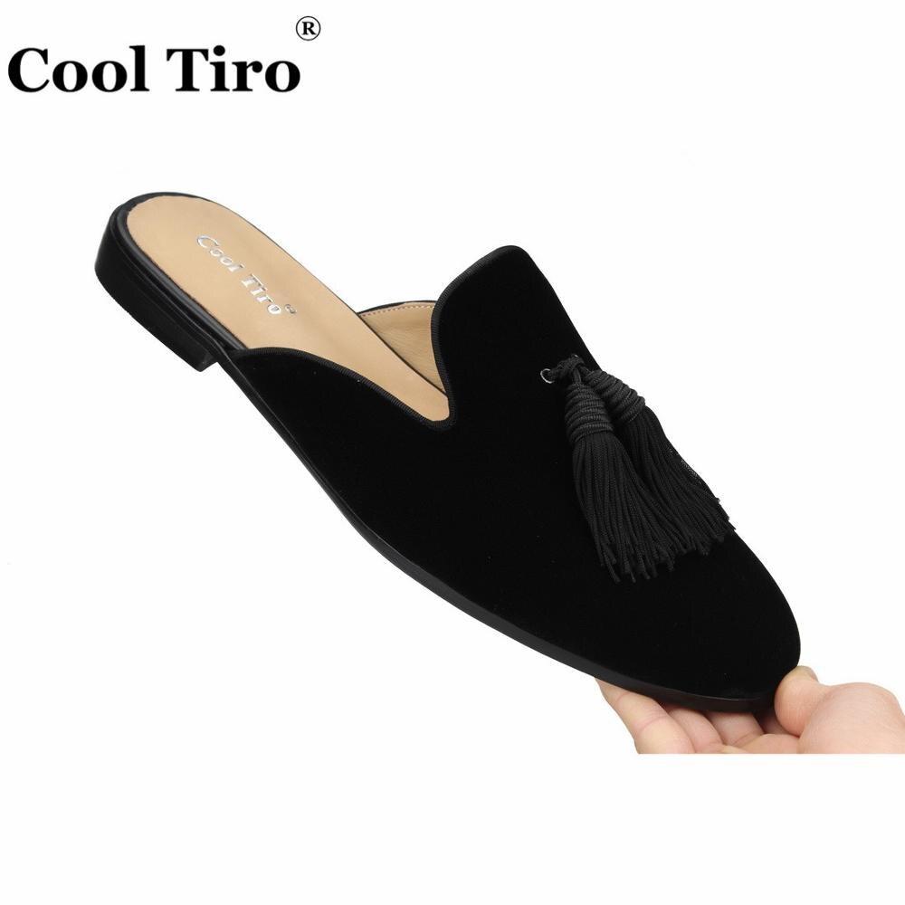 Cool Tiro Black Velvet Mules Tassel Men Slippers Smoking Slip On Flats Velour Handmade Shoes Casual