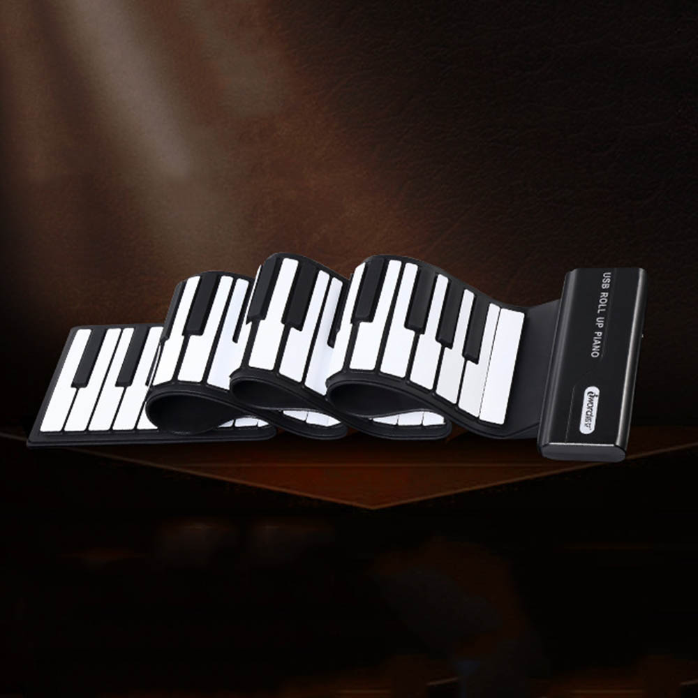 2018 New Portable 88 Keys Flexible Roll Up Piano USB MIDI Electronic Soft Keyboard Exercise Piano Toy for Children Learning Gift