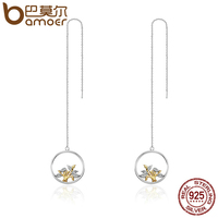 BAMOER 100 925 Sterling Silver Gold Circle Tree Of Life Tassel Drop Earrings For Women Authentic