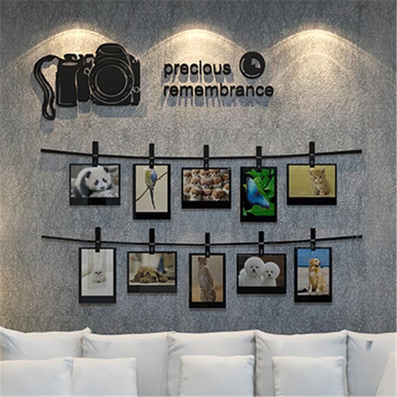 Nouveauté SLR caméra souvenirs 3D stéréoscopique stickers muraux Photo mur salon canapé décoré chambre acrylique autocollants art