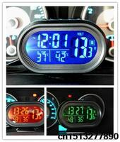 New 12 24V Multifuction Digital Car Auto Thermometer Car Voltmeter Battery Voltage Meter Tester Alarm Clock
