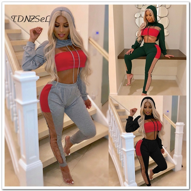 Women Sexy Hoodies Crop Top Trousers 2 Two Piece Set Open Chest Patchwork Sweatshirts Elastic Side See Through Legging Long Pant