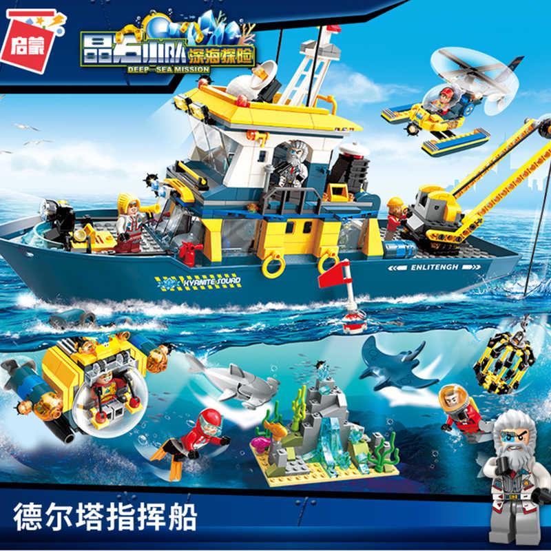 ENLIGHTEN Diving Spar shark Mining Delta command Ship Boat Building Blocks  Sets Bricks Model Kid Toy Compatible Legoings