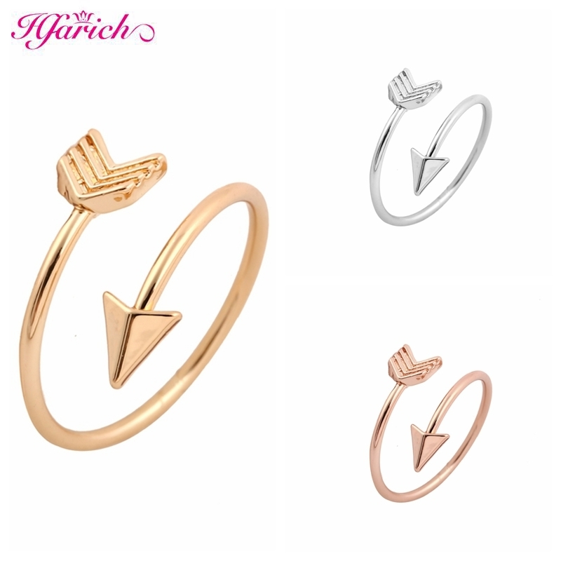 Hfarich 2018 Classical Silver Color Arrow Ring Fashion Ring for women Adjustable Engagement Wedding