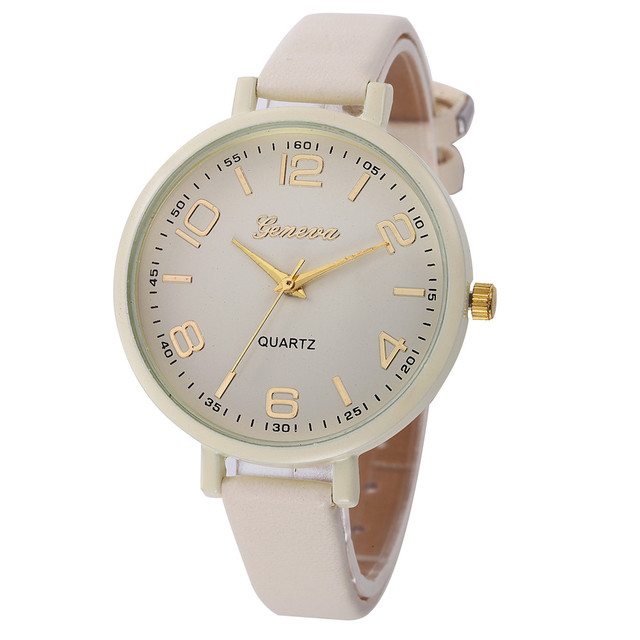 Montres Women Watches Geneva Watch Small Faux Leather Quartz Analog Wrist Watch