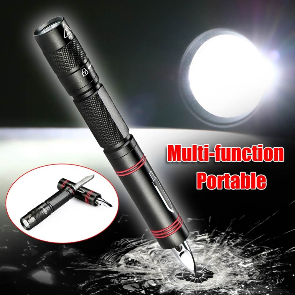 Led mini survival flashlight security protection tactical pen self defense multifunction led outdoor torch self defense
