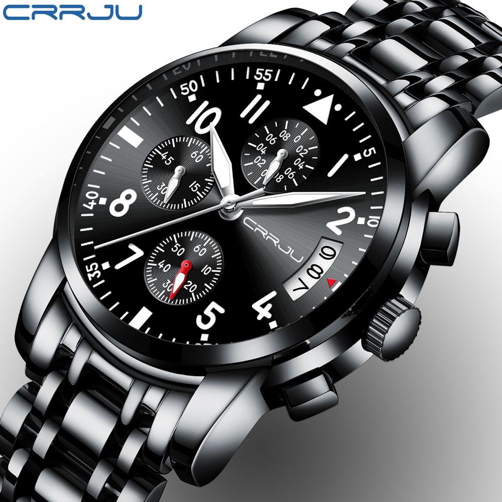 CRRJU Brand Black Fashion Full Steel Mens Quartz Watch chronograph Date Clock Male Sport Military Wristwatches Relogio Masculino new original fx3u 80mt dss plc base unit