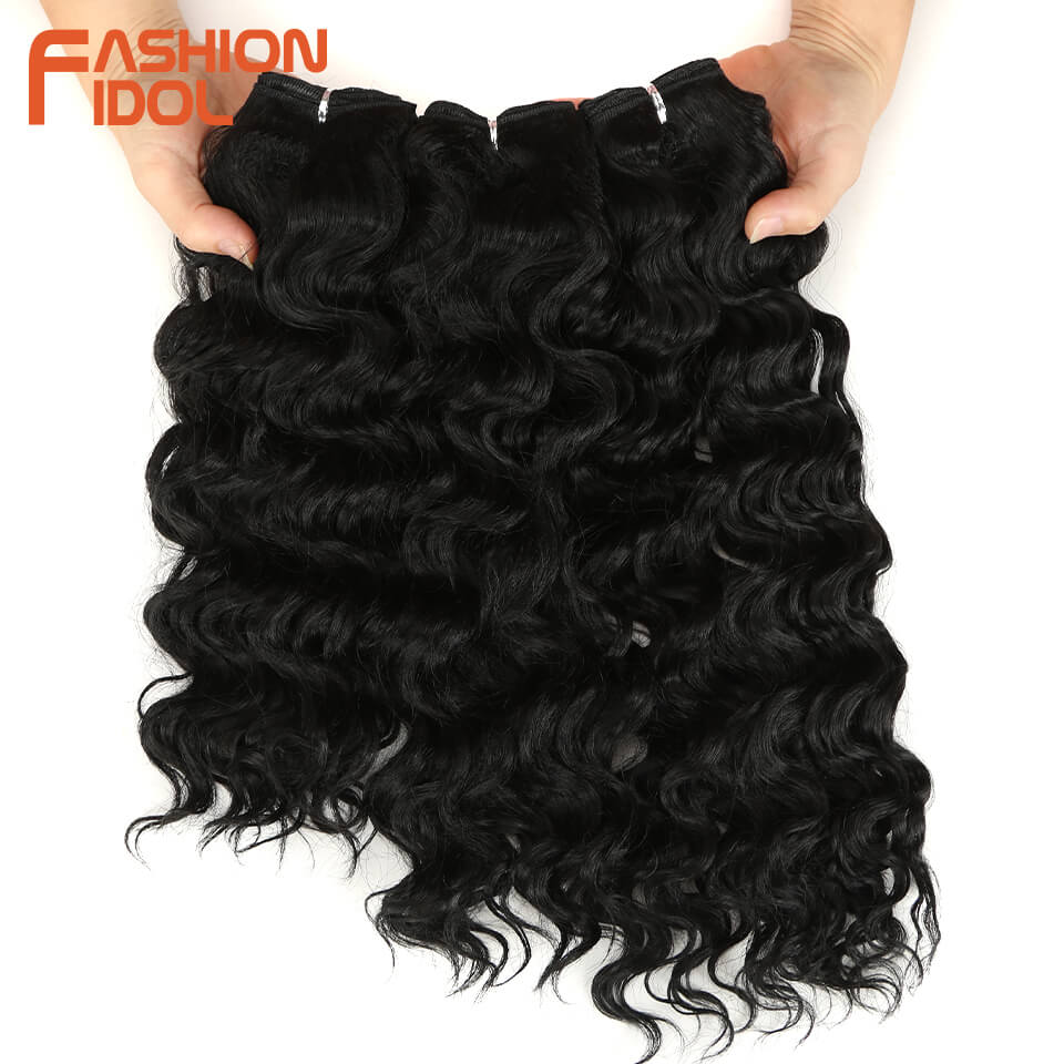 FASHION IDOL Deep Wave Bundles Hair Weave Bundles 1B Natural Black 3Pcs/Pack 16-20 Inch Synthetic Hair Extension Free Shipping
