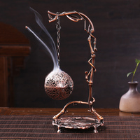 Chinese Style Vintage Pure Copper Alloy Ball Creative Shelf Incense Burner for Tea Ceremony Decoration Crafts for Wedding Gifts
