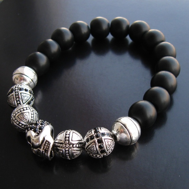 10mm Width Black Obsidian Beads Silver Plated Cross Karma Skull Bracelets European