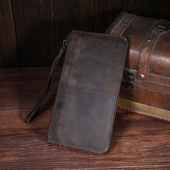 Zipper Money Clip Wallet Men Clutch Bag Real Cowhide Genuine Leather s Phone Long Hand Bags Wristlet Purse фото
