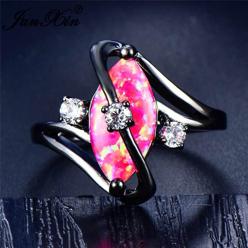 Junxin 90! Pelangi Api Opal Cincin untuk Wanita Emas Hitam Diisi S Gelombang Ring Marquise Kuda Mata Batu Birthstone Cincin Pernikahan