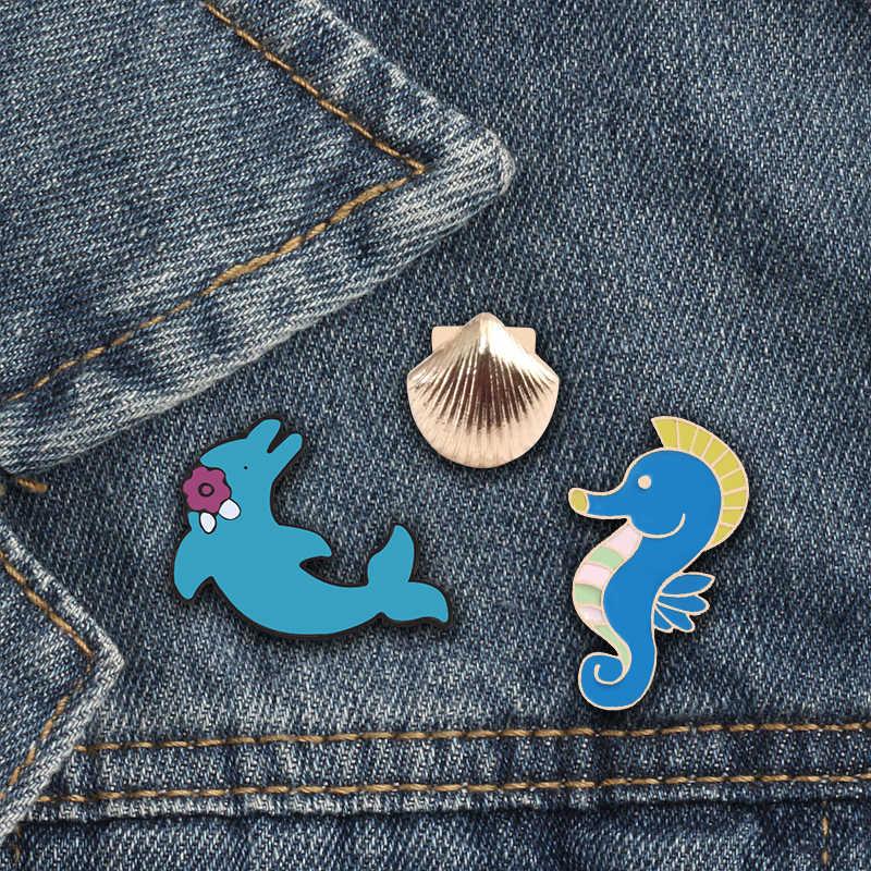 Baru Kartun Hewan Laut Bros Lucu Kuda Laut Dolphin Shell Enamel Tombol Pins Koboi Jaket Pakaian Aksesoris Fashion Perhiasan
