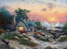 Free shipping! Cottage By The Sea Thomas Kinkade HD Canvas Print Living Room Bedroom Wall Pictures Art Painting Home Decoration цена 2017
